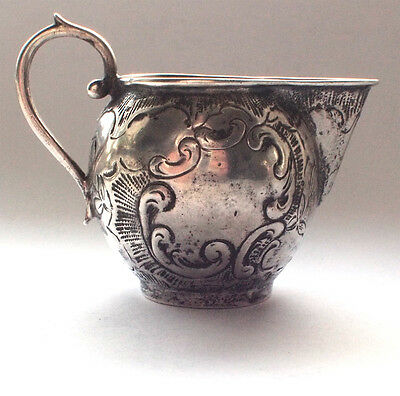 Vintage 800 Solid Sterling Silver Milk Jug Fine Antique Floral Pattern 1880s 800
