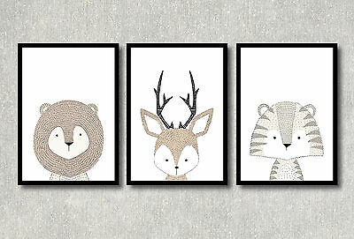 A4 WOODLAND Nursery Prints Forest Wall Art Modern Kids Room Decor Illustration