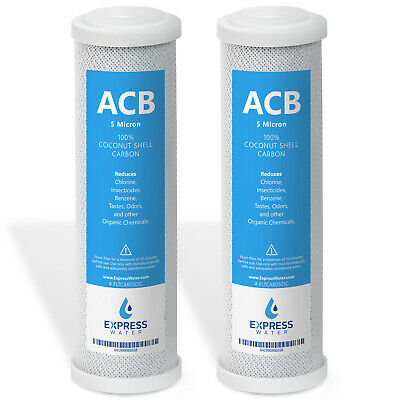 "2 Pack Express Water Carbon Block Coconut Shell Filter Cartridge 10"" 5 Micron"