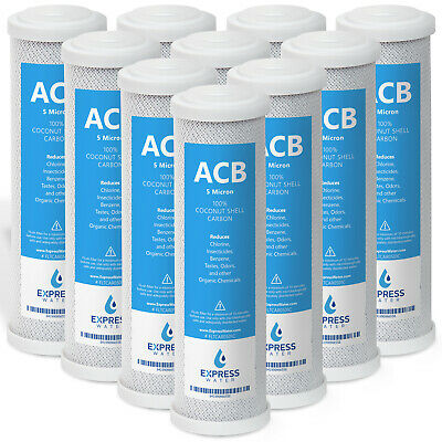 "10 Pack Express Water 10"" Carbon Block Coconut Shell Filter Cartridge 5 Micron"