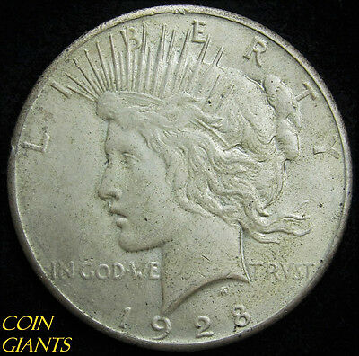 1928 S$1 Peace Silver Dollar About Uncirculated AU Key Date Rare Original Coin