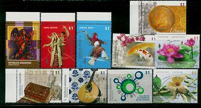 Argentina 2008 Lot Of 10 Stamps Mnh