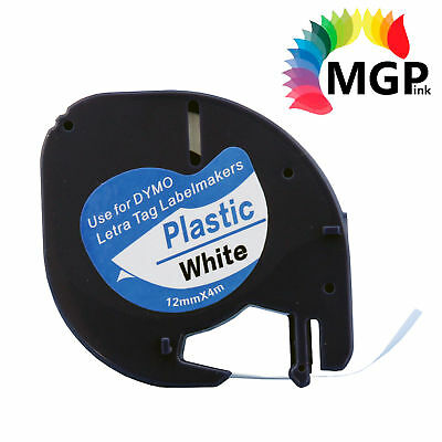2x Generic LetraTag Plastic Tape for Dymo 91201 SD91201 Black on White 12mm x 4m