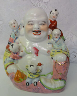 Figure Chinese Famille Rose Porcelain Laughing Porcelain Buddha 5 Children 20thC