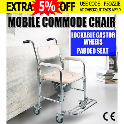 Oz 4-in-1 Professional Mobile Shower Commode Chair for Waterproof Rustproof New