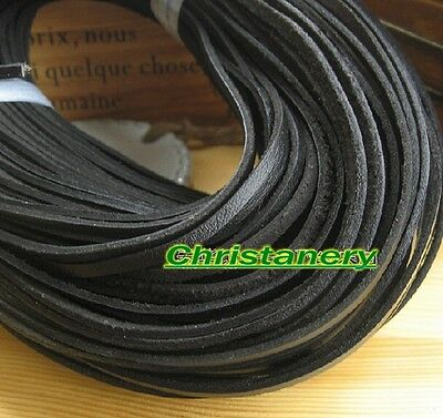 Genuine Leather Cord, Real Cow Leather Lace Lacing 3MM*1MM Black