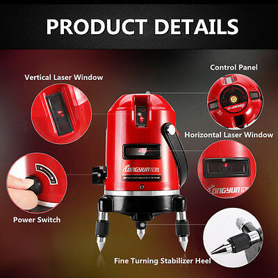 Professional Automatic 5 Line 6 Point 4V1H Self Leveling Laser Level Measure NEW