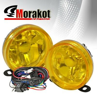 """Universal 3.5"""" Round Bumper Driving Fog Light Lamp Yellow with Wiring Harness"""