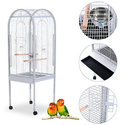 PawHut Bird Cage Stand Table Large Metal Pet Parrot Station Finch Mobile Wheel