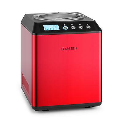 Red Pro Ice Cream Machine Compressor 2L Stainless Steel 180W * Free P&p Uk Offer