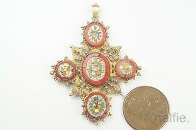 ANTIQUE LATE GEORGIAN 15K GOLD CANNETILLE FLORAL MICRO MOSAIC PENDANT c1820