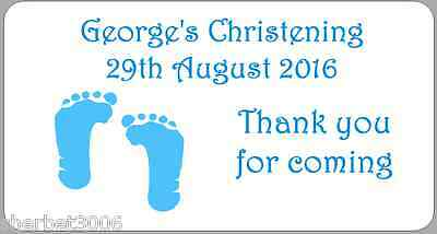 24 x Personalised Stickers Christening Blue Baby Feet Baby Boy Medium Labels
