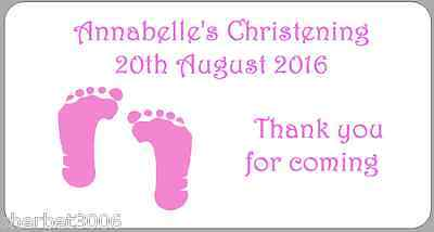 24 x Personalised Stickers Christening Pink Baby Feet Baby Girl Medium Labels