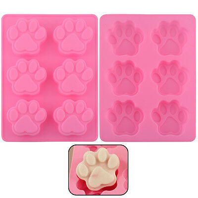 Lovely Silicone Dog Cat Paw Fondant Cake Mold Ice Cube Cookies Baking Mould