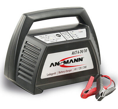Ansmann ALCT 6-24/10 6V 12V or 24V Smart Battery Charger - Motorbike Car Quad