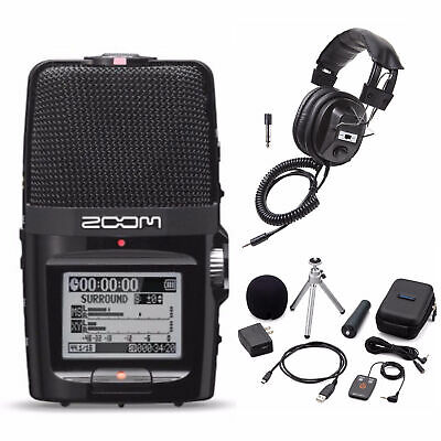 Zoom H2n Handy Handheld Digital Recorder with Accessory Pack and Headphones