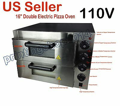 """New Style 110V 16"""" Commercial Double Electric Pizza Oven Ceramic Stone"""