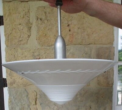 Vintage Institutional Large Cone Shaped Milk Glass Complete Light Fixture