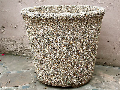 Heavy 1960s-1970s Pebbled Architectural Cement Planter Pot