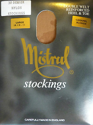 "Mistral Large Size 10.5"" to 11"" Vintage 30 Denier RHT Nylon Stockings"