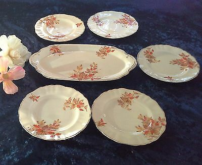 vintage sandwich cake plate set platter side plates MEAKIN autumn berry rose hip