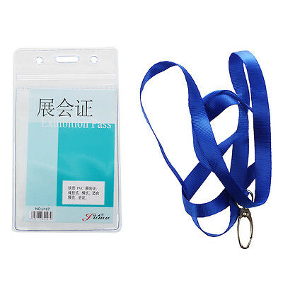 Vertical Clear Plastic ID Badge Card Holder w Neck Strap 2 Pcs DW