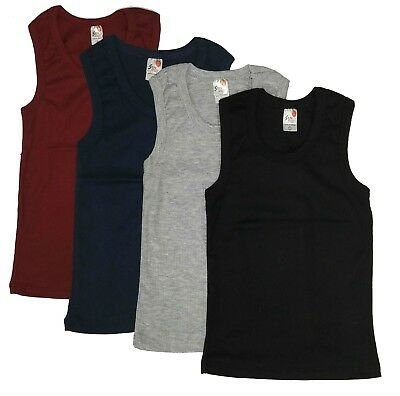 3-Pack Undershirt Boys Kids Muscle Tank Top Cotton Solid Plain Blank Ribbed Lot