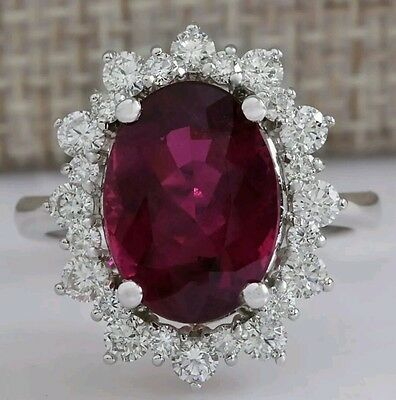 Genuine Rubellite and Diamond Ring 6.19ct- 14k Solid White Gold
