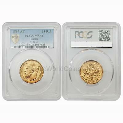 Russia 1897 Nicholas II 15 Roubles Y-65.2 Gold PCGS MS62