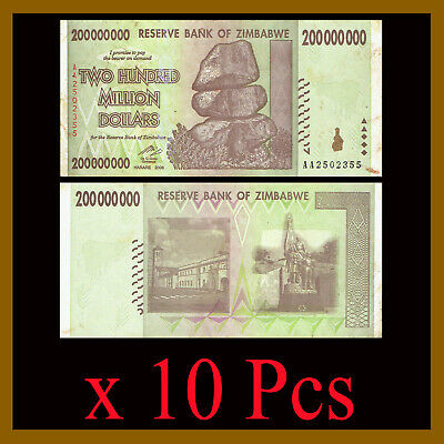 10 Pcs x Zimbabwe 200 Million Dollars, 2008 AA Circulated, 100 Trillion Series