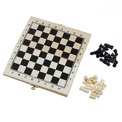 Foldable Wooden Chessboard Travel Chess Set with Lock and Hinges DW