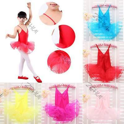 Girls Party Costume Ballet Tutu Dance Dress 3-12Y Kids Leotard Toddler Show New