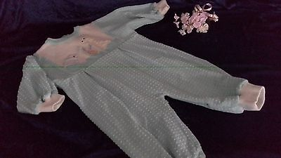 winter spot knit romper embroidered appliqued s0 long sleeves zip back MINT GREE