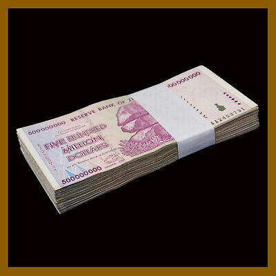 100 Pcs Bundle x Zimbabwe 500 Million Dollars, 2008 AA/AB Cir, 100 Trillion Ser