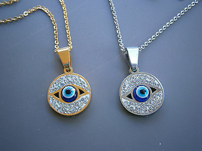 Stainless Steel Blue Evil Eye Necklace Gold & Silver Tone Beads Greek Nazar Mati