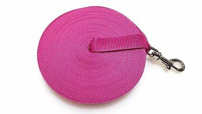 15ft Fuchsia Dog Lead & Horse Training Leash. 4.5m long 25mm Wide Webbing Clip