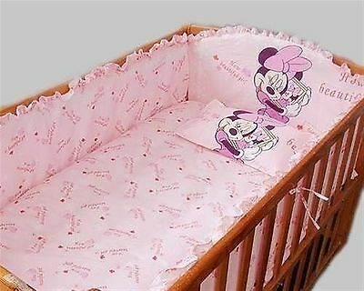Baby Bedding Crib Cot Quilt Bumpers Sheet Sets - 9Pc Pink Minnie Mouse Brand New