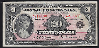 1935 Bank of Canada $20 Small Seal - PCGS Nice VF25 PPQ condition