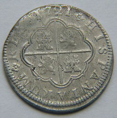 1721 CA JJ Cuenca Spain Spanish 2 Reales Silver Coin Philippus