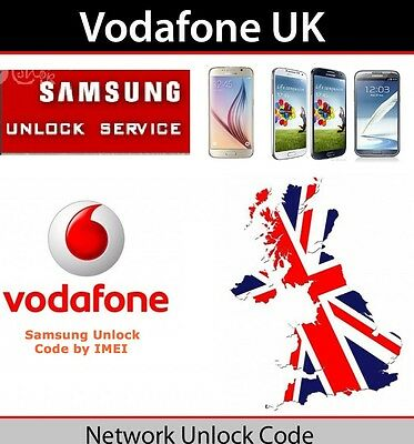 Vodafone UK Only UNLOCK CODE Samsung Galaxy S5 S4 S3 S2 S1 Note 4 Ace Fame Young
