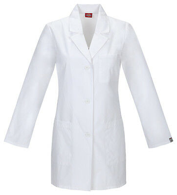 White Dickies EDS Certainty 32 Lab Coat 84400AB WHWZ Antimicrobial Fluid Barrier