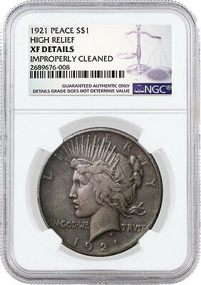 1921 High Relief $1 Silver Peace Dollar NGC XF Details