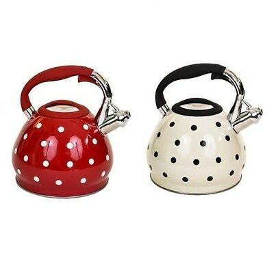 3.5L Stainles Steel White/red Polkadot Whistling Kettle Use Gas Electric Hob