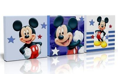 3 X DEEP EDGE CANVAS PICTURES /  WALL ART BLUE MICKEY MOUSE  FREE p&p