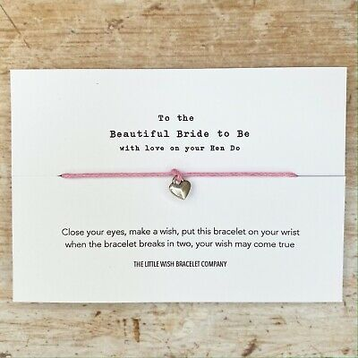 Bride to Be on your Hen Party Wish Bracelet & Card Weekend/ Do/ Night Favour