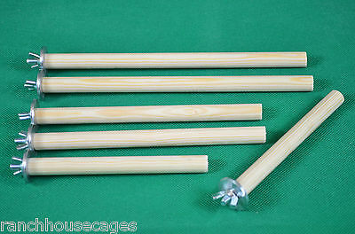 2,4 or 6 Pack 15mm Wooden Perches Budgie,Canary,Finch,Lovebird 15/20/25cm