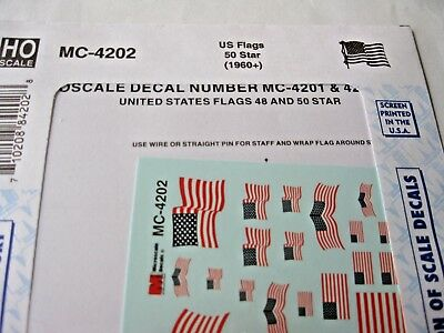 Microscale Decals Stock #MC-4202 US Flags 50 Stars (1960+)  HO Scale