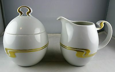 Rosenthal China Creamer and Sugar Bowl - Gold Structure - Superior