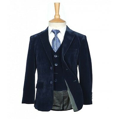 5 PC Boys Navy Blue Velvet Suit Pageboy Suits Wedding Suit Prom Suit 1 to 15