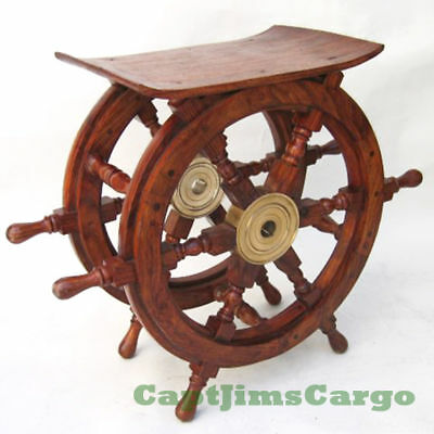 "Ships Boat Steering Wheel Teak Wood 20"" End Table Nautical Decor Furniture New"
